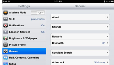 iPad General Settings