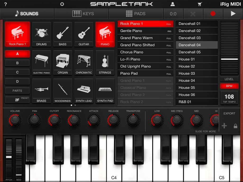 SampleTank Main Screen